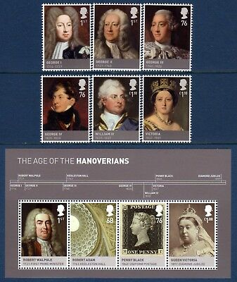 """Gb. 2011. """"the House Of Hanover"""". 1 Set Of 6 Stamps + 1 Mini Sheet. Mnh."""