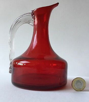 Vintage Whitefriars Ruby Red Jug 9718? Lovely Example Beak Spout Clear Handle