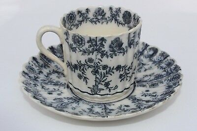 Circa 1840's Antique Black Transferware Demitasse Cup & Saucer Flower Garlands