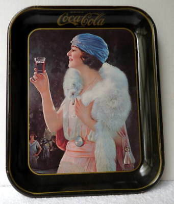 Coca Cola Metal Tray Flapper Woman Wearing Stole #1M