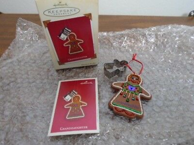 NEW 2003 Granddaughter Hallmark christmas ornament gingerbread cookie cutter