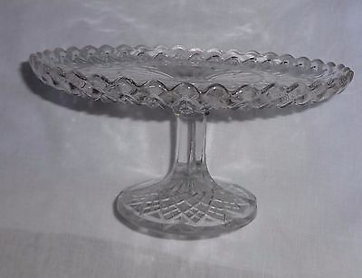 Vintage Victorian Glass Cake Stand Excellent Condition High Pedestal