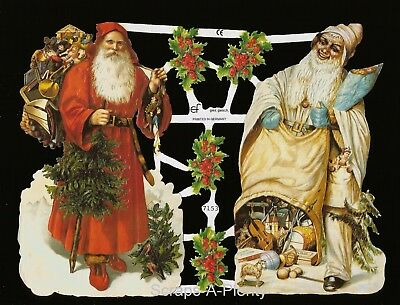 German Vintage Style Embossed Scrap Die Cut - Colorful Christmas Santa's  EF7153