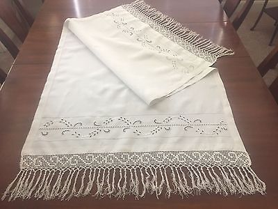 Antique Italian Linen Table Runner Cut Work Embroidered, Hand Tied Fringe,Lace