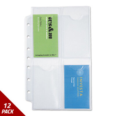 Business Card Holders for Looseleaf Planners 5 1/2x8 1/2 5ct [12 PACK