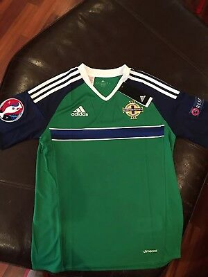 Adidas Northern Ireland 2016 Euro Home Jersey, Size Youth Large (13-14 Years)