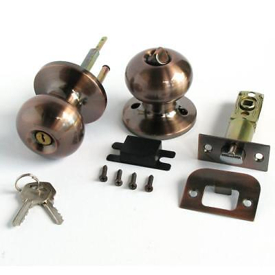 Stainless Keyed Entry Rotation Biscuit Door Knobs Entrance Lock Antique Color