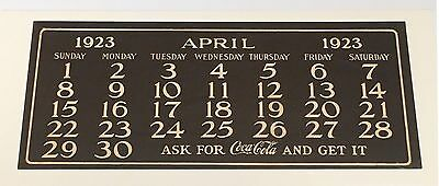 Original Coca Cola 1923 Calendar April page for girl with fan mint condition