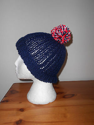 Knitted hat with bobble, festival, football, England,france rugby colours
