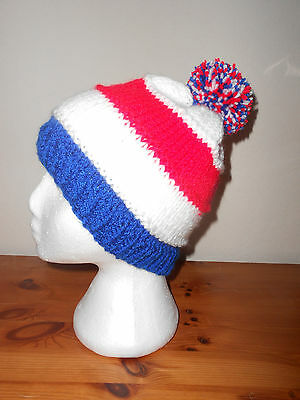 Knitted bobble hat blue,white,red ENGLAND, FRANCE rugby, football colours.