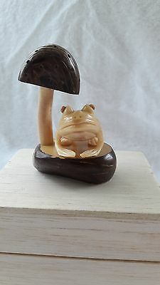TAGUA NUT Hand Carved Figure  Frog with Mushroom
