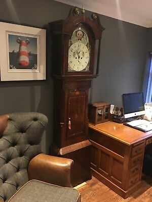 Stunning mahogany & Inlaid Moon Phase Longcase Grandfather Clock C1770 -All Good