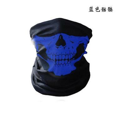 1Pc Bicycle Ski Skull Half Face Mask Ghost Scarf Multi Use Neck Warmer COD Blue