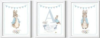 3 Personalised baby child Peter Rabbit name print picture nursery gift christen