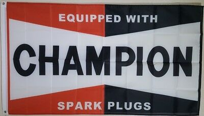Champion Spark Plugs 3x5 Flag Wall Banner Garage Advertising Vintage Classic