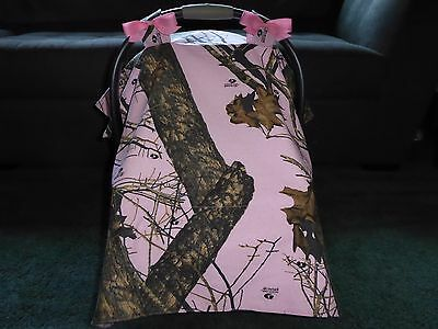 **PINK MOSSY OAK BREAKUP**camo w/bows Handmade Baby Infant Car Seat Canopy-Cover