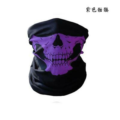 1X Bicycle Ski Skull Half Face Mask Ghost Scarf Multi Use Neck Warmer COD Purple