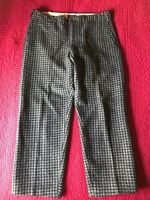 mens 36 29 vintage L.L. Bean black gray plaid wool pants w/ suspender buttons ll