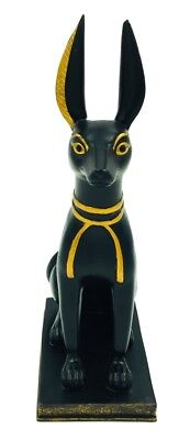 Anubis Ears Up Listening to Underworld Egyptian Dog Jackal Seated Statue 8.75H