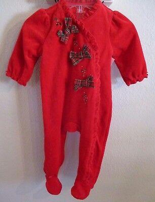 NWT LITTLE WONDERS 6-9 MOS BABY GIRL RED HOLIDAY VELOUR 1 PC OUTFIT w/PLAID BOWS