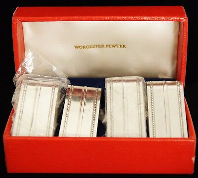 SET OF 4 WORCESTER PEWTER Silverplate Napkin Rings Holders w/ Original Box 07322