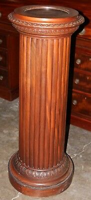 A Fine Antique Hand Carved SOLID MAHOGANY Column Design Plant Stand Circa 1900