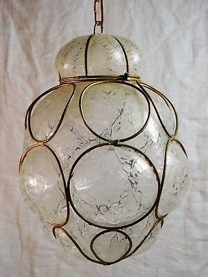 Vintage Clear Textured Caged Glass Light Fixture Pendant Lantern Swag Light