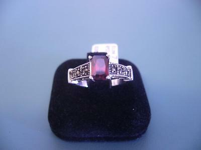 Created Garnet & Marcasite Gemstone Ring In Sterling Silver Size 7 / O - 4G