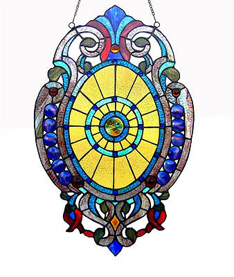"""Handcrafted Tiffany Style Stained Glass Oval Window Panel Design 15"""" W x 23"""" T"""