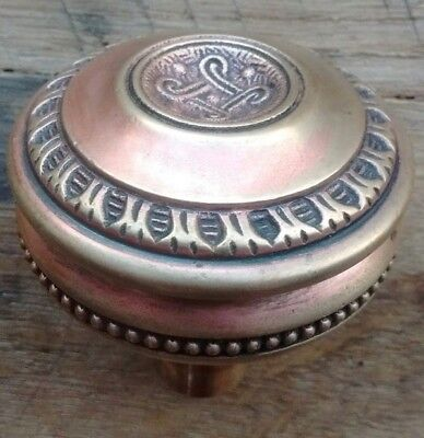 Antique Brass or Bronze Eastlake Victorian Door Knob Ornate Beading - Rare