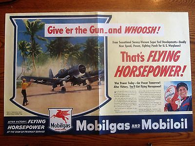U.S. Navy Fighter Give er the Gun on Pacific Island  WWII Ad