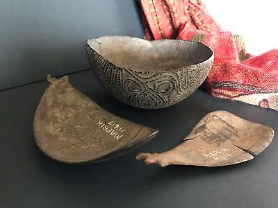 Old Papua New Guinea Maprik Carved Food Bowl & Spoons …a beautiful collection...