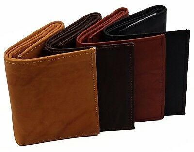 MENS Trifold RFID Wallet - Cowhide Leather, Signal Blocking, 4 Sleeve Insert