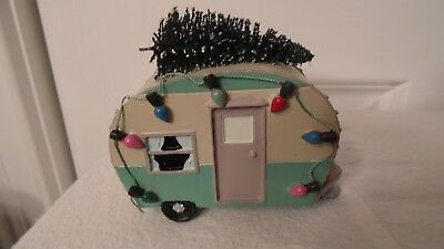 Christmas Village Camper,  Has A Christmas Tree On The Top, With Fake Lights