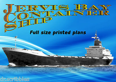 """Full Size Printed Plan 1:192 Scale Jervis Bay Container Ship L 56"""" Suitable4 R/C"""