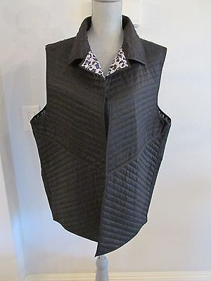 NWT FOR CYNTHIA 2X & 3X REVERSIBLE BLUE/BLK/GRAY Lt Wt QUILTED OPEN FRONT VEST