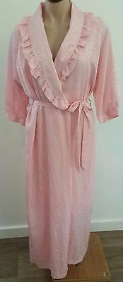 Vintage 1980s TEXWEAR Australia Made LIGHT PINK Floral Satin Wrap Robe size 8