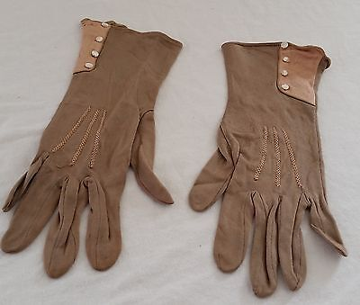 Vintage 20s ART DECO MOCHA BROWN SALMON PINK Day Gloves Pearlescent Buttons