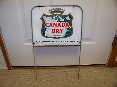 "Vintage 2 Sided Canada Dry Sign ""A Flavor For Every Taste"" With Original Frame"