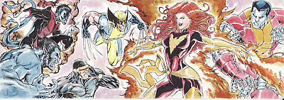 Marvel Premier X-Men (Wolverine Cyclops Colossus) Sketch Card By Rain Lagunsad
