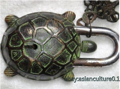 Superb China Characteristics handmade vintage brass engraving Turtle lock