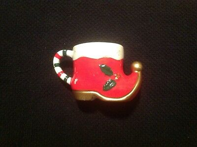 Vintage Retro NAPCO Christmas Elf Santa Boot Shoe Holly Holiday Mug  X5503