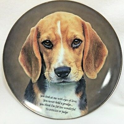 "Cherished Beagle Danbury Mint "" Eyes of Love"" Collector Plate"