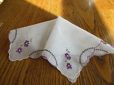 Vintage White Cotton Hankie Swiss Embroidered Pretty Purple Violets Scalloped
