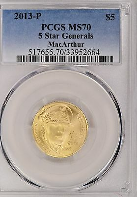 2013-P 5 Star General MacArthur Commemorative $5 Gold PCGC MS70