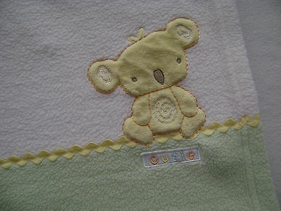 Carters Koala Bear Cutie Fleece Security Snuggle Blanket Green Yellow Zig Zag
