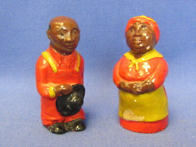 Vintage Black Americana Salt & Pepper Set No stoppers