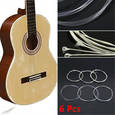 6 Pcs/Set Acoustic Guitar Nylon Strings Wound Clear Gauge for Classic Guitar