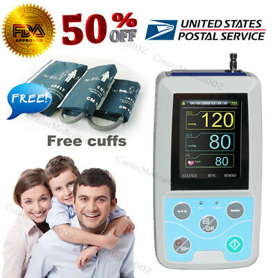 FDA 3 CUffs Ambulatory Blood Pressure Monitor Digital 24 Hours NIBP Holter + CD