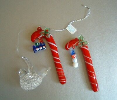 2 Schmid Red / White Glass Candy Canes 1985 1 Clear Spun Glass Bird